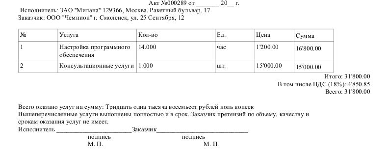 Русские акт выполненных работ отправлен электронном виде делать