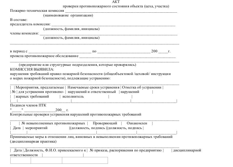 акт нарушения пожарной безопасности образец img-1